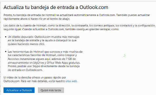 actualiza a outlook