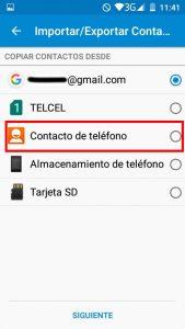 seleccionar contactos de telefono